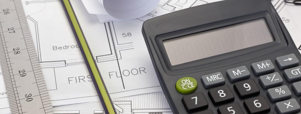 Baukosten - Bauplan - Taschenrechner
