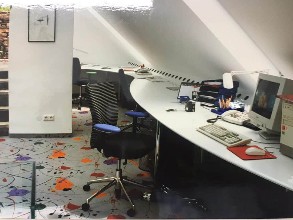 Arbeitsplatz im Planungsbüro 90er-Jahre